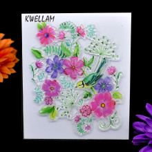 Flower and Bird Scrapbook DIY photo cards account rubber stamp clear stamp transparent stamp 13x11cm KW7040313