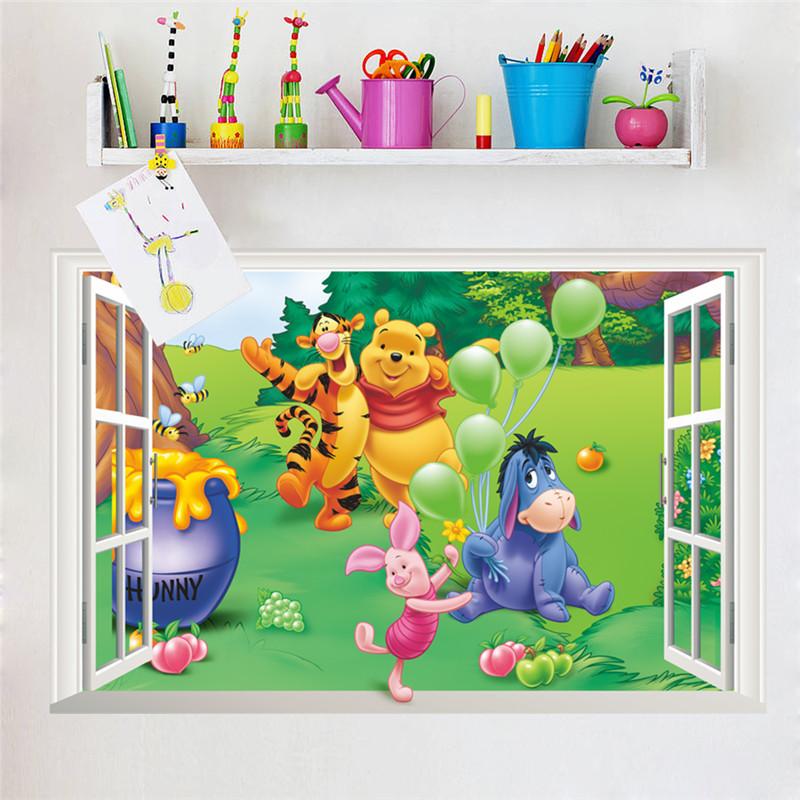 HTB1oWWwhTnI8KJjSszbq6z4KFXac - Baby Bear Cartoon DIY Wall Stickers For Kids Children Room Decaor 3d Window Bear Winnie Pooh Nursery Wall Decals