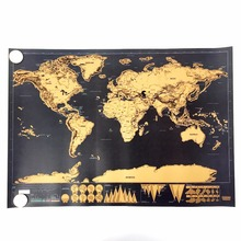 HIGH quality  Deluxe  Map Personalized World Map Mini  Foil Layer Coating Poster