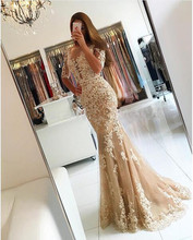 Chic Champagne Mermaid Tulle Illusion Half Sleeve Prom Dress With Beaded Lace Applique 2017 New Vestido De Festa