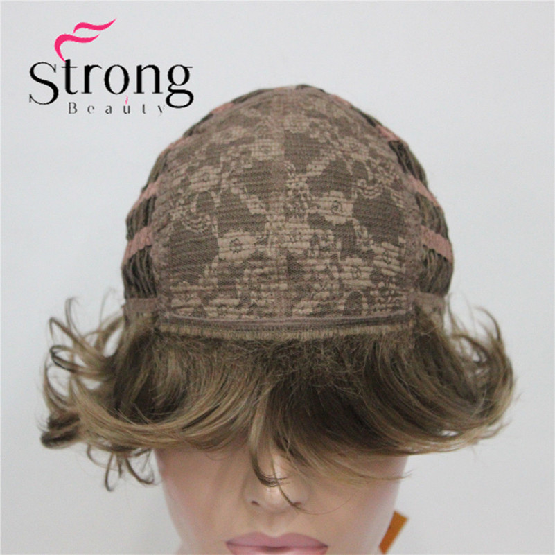 E-7125 #12New Wavy Curly Wig Light Reddish Brown Short Synthetic Hair Full Women's Wigs (6)