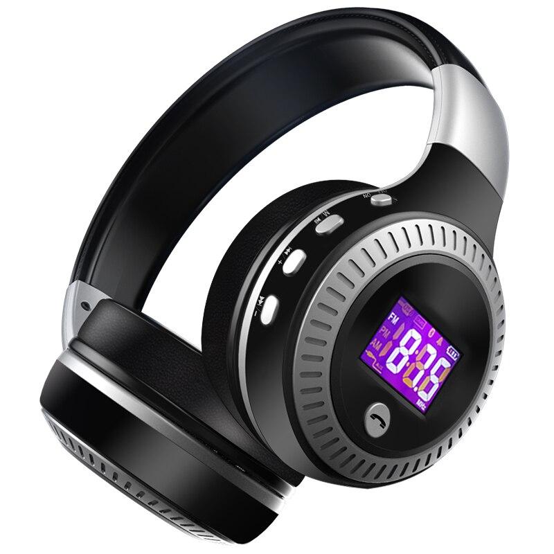 Original Hot Foldable B19 Wireless Bluetooth Headphone Headset With Mic FM Radio TF Card LCD Display HiFi Bass Stereo Earphone<br>