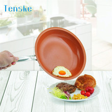 Cookware Pans Non-stick Copper Frying Pan With Ceramic Coating And Induction Cooking Oven Safe u70808(China)