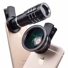 2017 New Universal 0.45X HD Wide Angle Macro lens 12x telephoto lens For Samsung Galaxy J3 A7 A8 grand prime motorola e398(China)