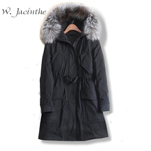 W.Jacinthe Winter Jacket 2017 New Long Thick Slim Waist Coat Korean Casual School Style Women Clothes Real Fur Collar Hooded(China)
