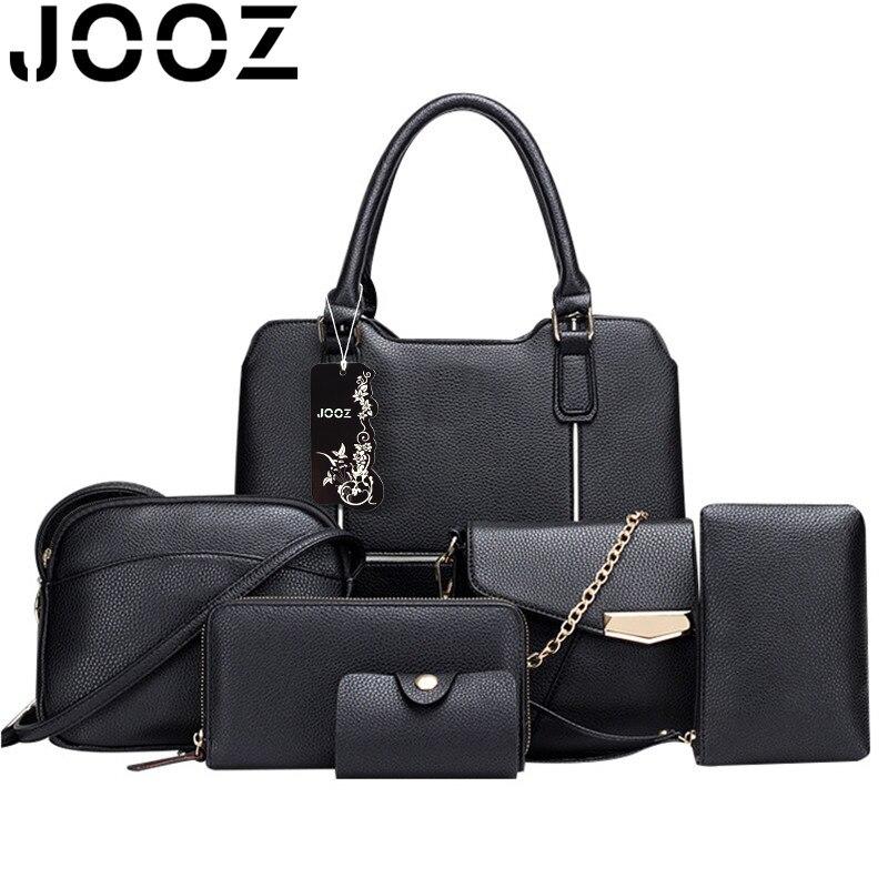 JOOZ Brand Luxury bags PU leather Woman Handbag 6 Pcs Set Lady Patchwork Shell Bags Female Shoulder Crossbody Messenger Bag<br>