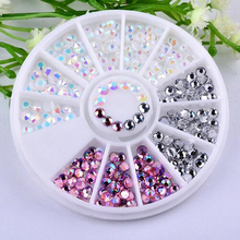 Colorful 3D Round AB Rhinestone Crystal Glitter Bead Pearl Wheel Nail Art Tips Jewelry Decoration DIY Manicure Accessories Tools