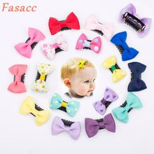 10Pcs/lot Sewing Solid Dot Infant Baby Small Ribbon Bow Hair Clip Boutique Hairpins For Children Girls Kids Hair Accessories A19(China)