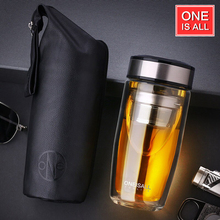 High Quality Double Walled Glass Mug Coffee Tea Mug Cups My Bottle for Water Tumbler Glass Water Bottle Cups with tea Infuser(China)