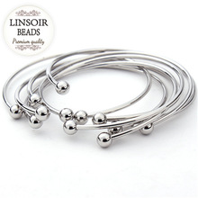 5pcs/lot European Silver Color Adjustable Cuff Open Bangles For Women Expandable Wire Bangles Bracelets With Bead Charms F2012