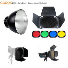 Godox BD-04 Barn Door Honeycomb Grip with 4 Color Filters + 7 Inch Standard Silver Bowen Reflector for Studio Flash Lighting(China)