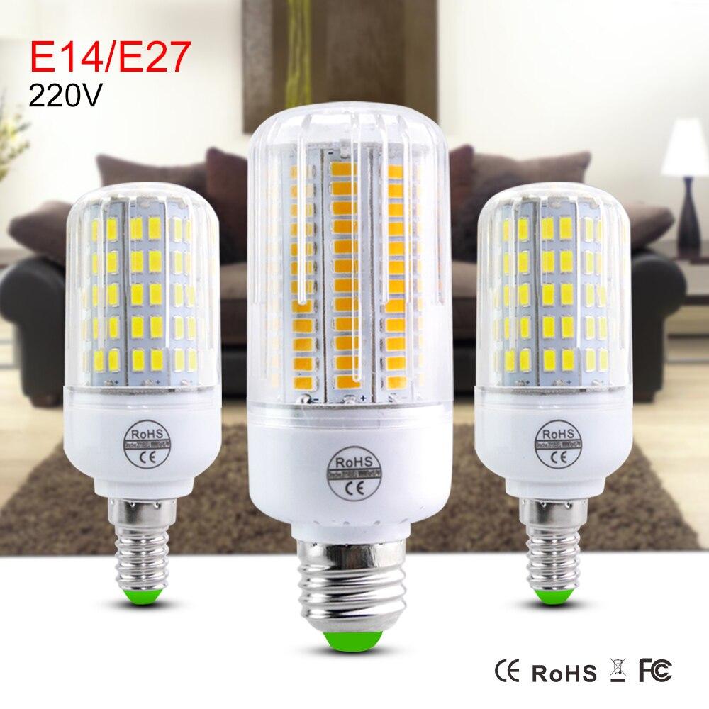 E27 E14 24 30 42 64 80 LED Light Bulb Smart IC Power 5730 SMD Corn Lamp 220V110V