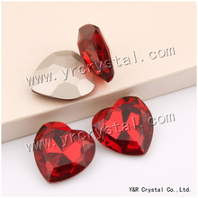 YANRUO 4827 28mm 8pcs Light Siam Heart Rhinestone Fancy Stones Claw Rhinestones Glass Stones Sewing Strass For Dresses