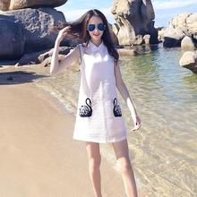 Women Swan Embroidery Sleeveless Dress 2017 Summer Fashion A Line Dresses Ladies Peter Pan Collar Tank Dress Free Shipping