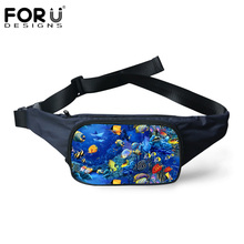 FORUDESIGNS Fanny 3D Underwater Animal Fish Dolphin Pattern Fashion Waist Bags for Women Men Travel Waist Pack Small Belt Bags(China)