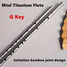 Titanium Metal Flute G Key Imitation Bamboo Joint Metal Flauta Profissional Music Instrument Self-defense Weapon Metal flutes(China)