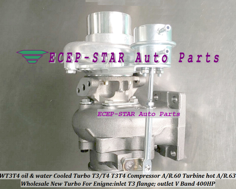 WT3T4 oil Cooled Turbo T3T4 T3T4 Internal Wastegate;Compressor AR .60 Turbine hot AR.63 inlet T3 flange;outlet V Band 400HP (3)