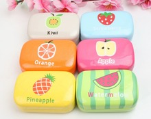 LIUSVENTINA cute fruit apple orange pineapple kiwi watermelon strawberry leather box 6 types contact lens case lenses container