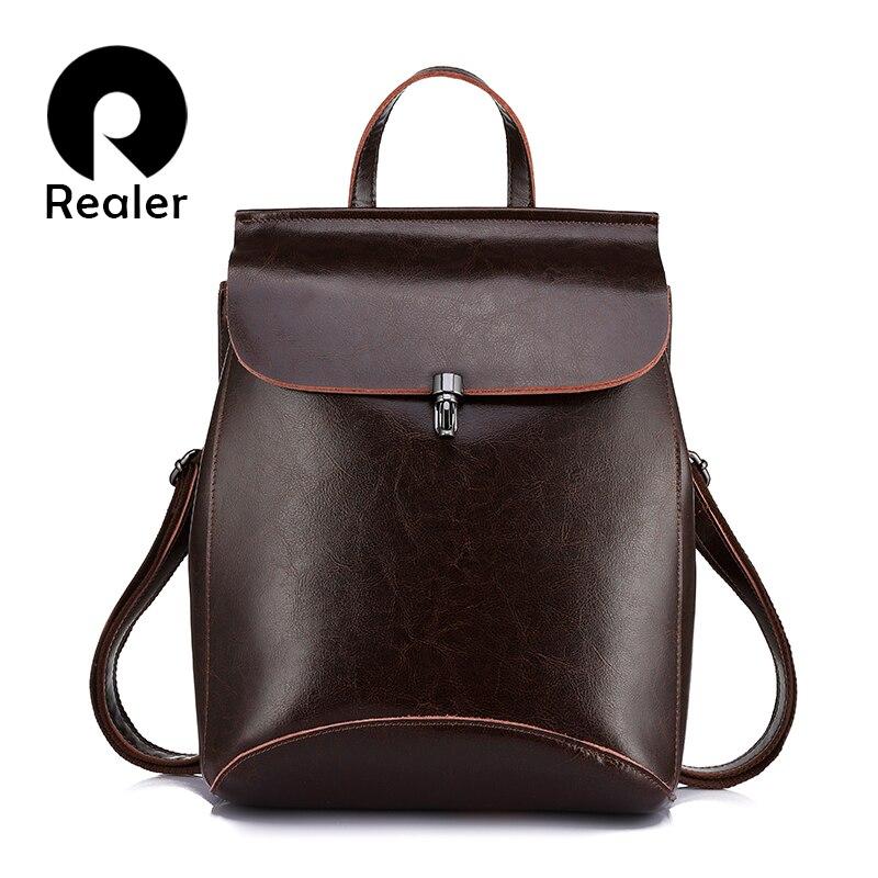 REALER Women Backpack Youth split Leather Backpacks for Teenage Girls Female School Shoulder Bag large travel Ladie bags mochila<br>