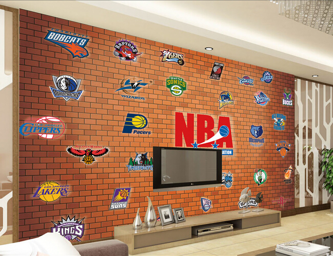 Custom papel DE parede 3 d, basketball team and mural brick lines used in the sitting room bedroom TV  wall papel DE pared <br>