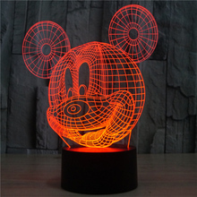 Mickey Mouse cartoon creative birthday gifts 3D lamp 2017 trade Mickey Mouse 3D touch LED lamp light colorful visual USB boxed