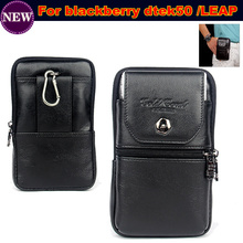 Wallet Phone Bag / Genuine Leather Carry Belt Clip Pouch Waist Purse Case Cover for BlackBerry DTEK50/LEAP Case Free Shipping(China)