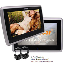 Twin Wireless IR Headphone Pair of 9inch Car Headrest Monitors HD 1024600 Touchscreen CD DVD Player with USB 1080P Video Player