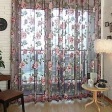 1*2m Elegant Floral Sheer Tulle Voile Curtain Window Panel Drape Scarf Valances Curtains Living Room Curtain(China)