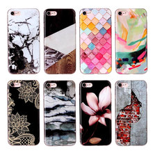 Fashion Granite Scrub Marble Stone Image phone Case for Apple iPhone 8 Case Tpu Soft Color Squares Back Cover Shell 4.7 inch(China)