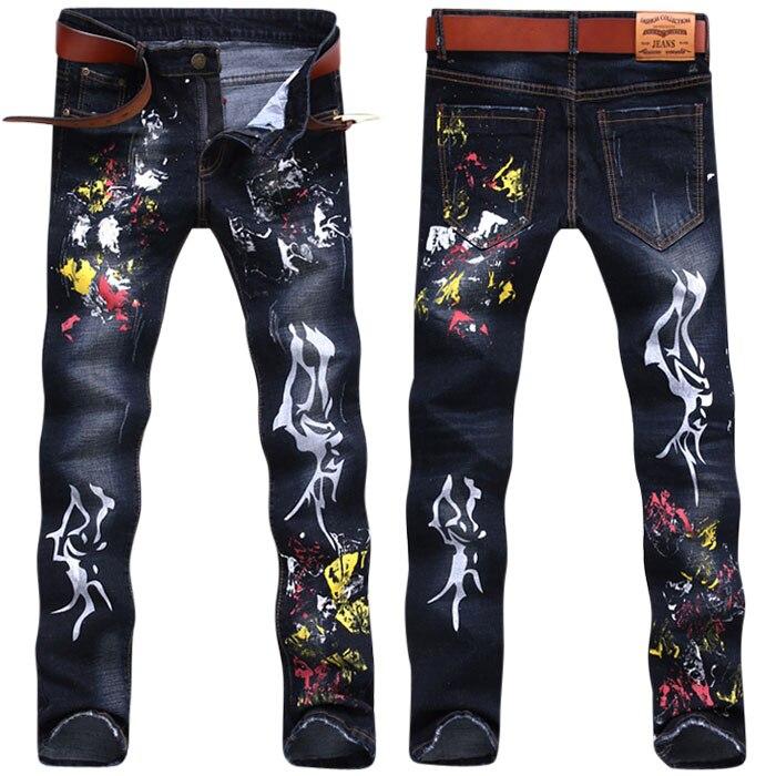 Multicolour painted print male jeans elastic slim autumn and Spring high quality long trousers fashion personality street pants Îäåæäà è àêñåññóàðû<br><br>