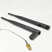 WIFI Antenna 2.4 GHz 6dBi SMA Male Wireless WLAN Black Antenna Aerial WIFI  + IPX / u.fl To SMA Female Pigtail Cable 15cm