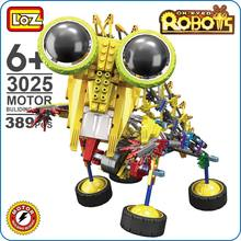 LOZ Robot Toys For Boys Motor Building Block OX Eyed Big Eye Cute Battery Gear Brick Mantis Yellow Razor Science Toy Gifts 3025(China)