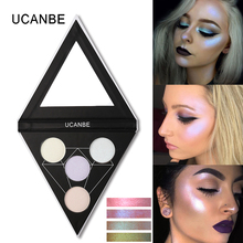 UCANBE 4 Color Duo Chrome Glow Kit Highlighter Palette Makeup Shimmer Highlighter Powder Aurora Illuminator Brightening Cosmetic
