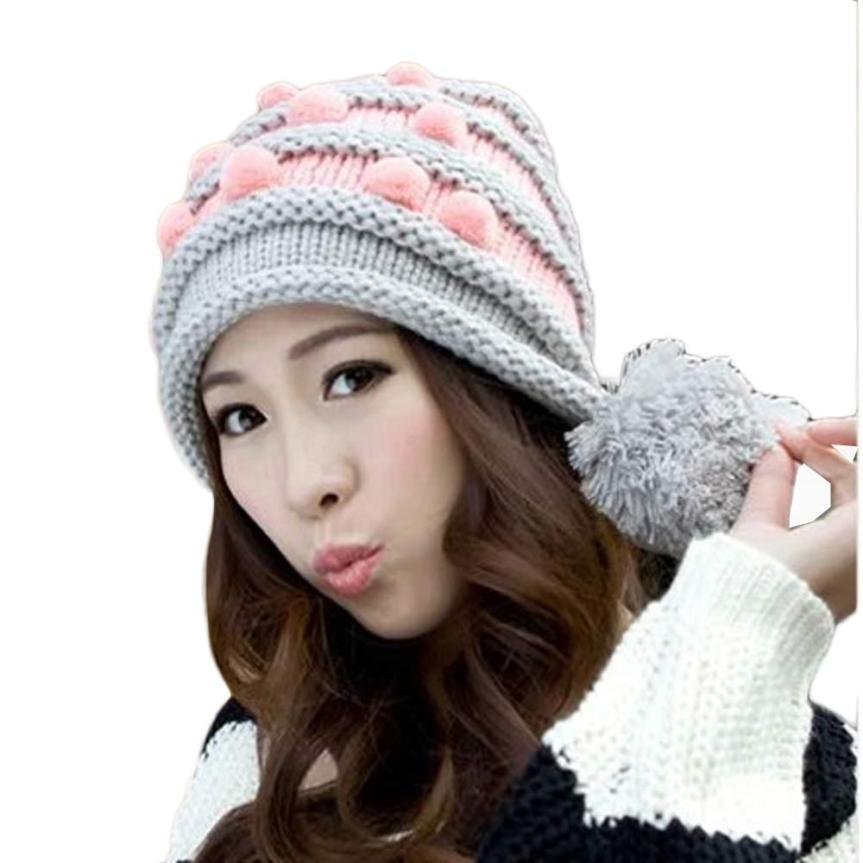 Stylish 2015 Winter  Grey Acrylic fibres Winter Women Warm Hemp Flowers Ski Hat Warm Cap for ladyÎäåæäà è àêñåññóàðû<br><br><br>Aliexpress
