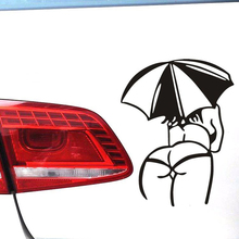 1PC 14*11cm 2018 New Design Sexy Girls Car stickers Lady Umbrella Body Car Styling Car Motorcycles Decal Styling Accessories(China)