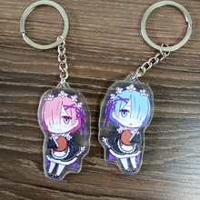 2pcs/set Anime Keychain Re:Life in a different world from zero Re Zero kara Hajimeru Isekai Rem Doubleside Print Keychain