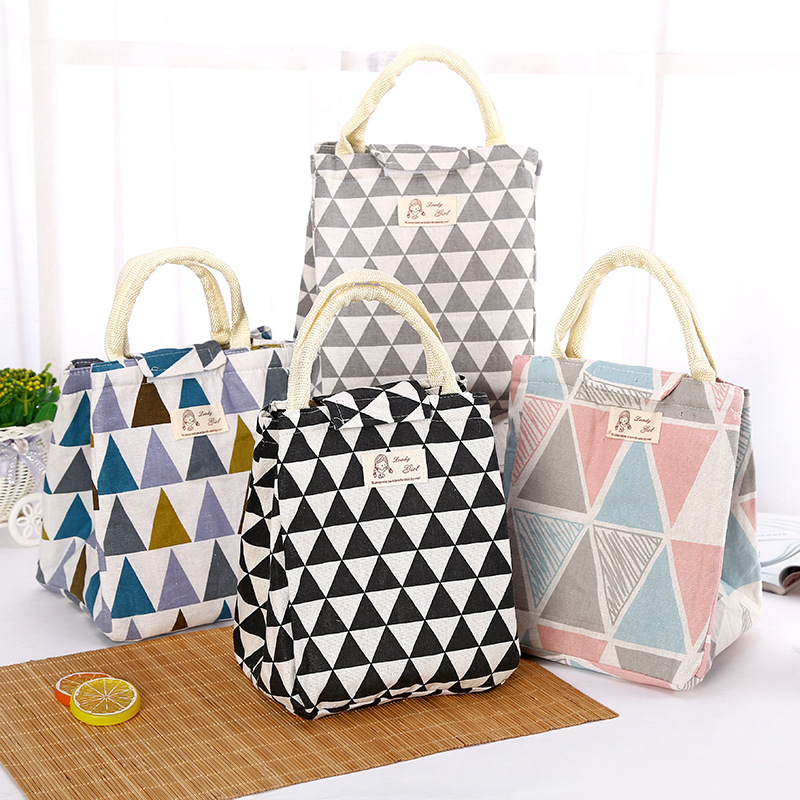 Portable Lunch Bag Tote Thermal Insulation Simple Pattern Travel Picnic Lunchbox