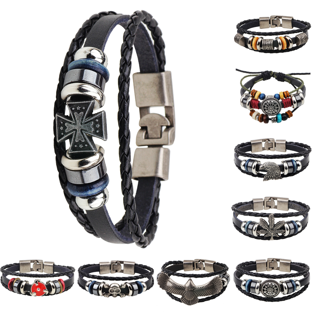 Multichoice Leather Cute Infinity Charm Men Cuff Bracelet Punk Leather  Bracelet&bangle Men Jewelry Gift