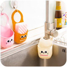 Cartoon cat hang the bag snap sink, kitchen sponges drain and faucets with storage rack