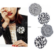 Designer Elegant Black White Tweed Camellia Flower Pin brooch with Gift box Celebrity love