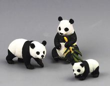 pvc  figure wild  animals   toy panda  family toys children birthday gift toys holiday gift ornaments  4pcs/set