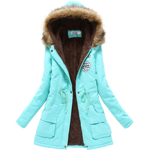 2017 winter jacket women wadded jacket female outerwear slim winter hooded coat long cotton padded fur collar parkas plus size(China)