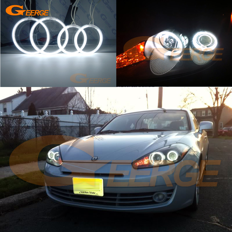 For Hyundai Tiburon 2007 2008 GK FL2 Excellent angel eyes Ultra bright headlight illumination CCFL Angel Eyes kit Halo Ring<br>