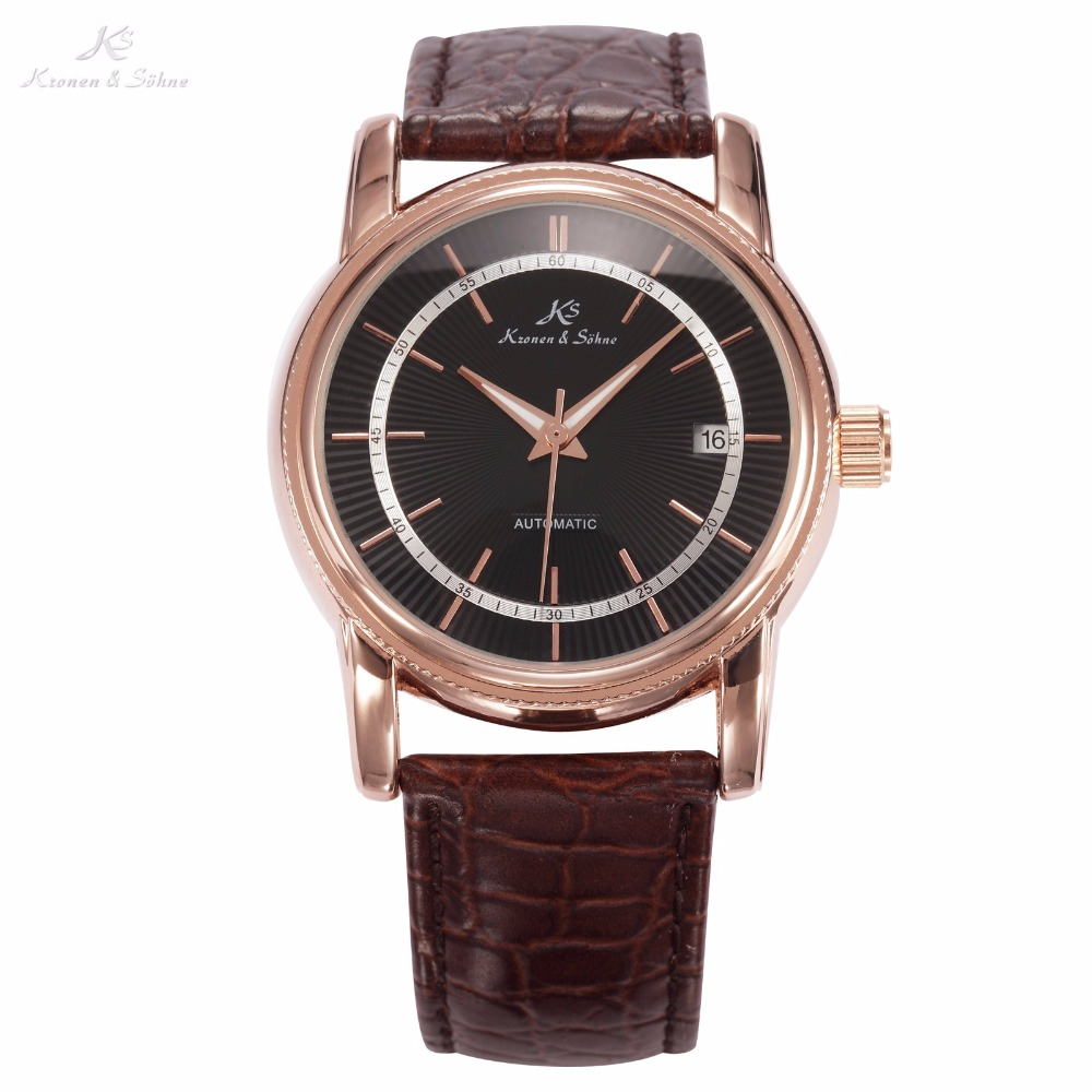 KS Black Dial Rose Gold Stainless Steel Case Date Display Automatic Mechanical Fluorescence Hands Leather Strap Men Watch /KS234<br>