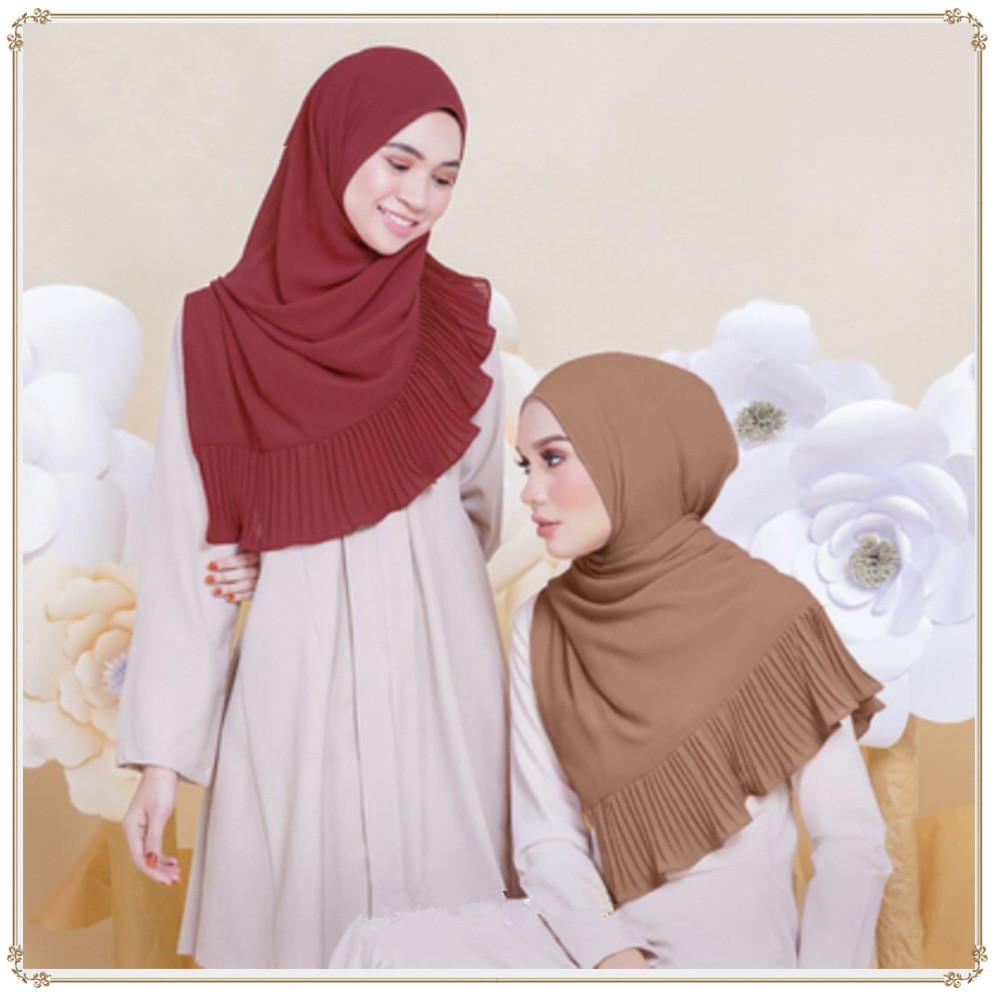 Muslim women chiffon Patchwork headscarf high quality head coverings drape stitching hijab Islam girl's cap big size 9