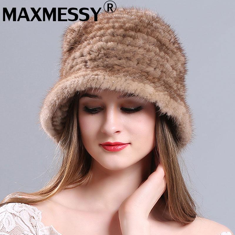 MAXMESSY Women Winter Fur Hat Genuine Mink Fur Hats Knitted Mink Fur Caps Female Russian CapsÎäåæäà è àêñåññóàðû<br><br>