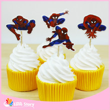 24pcs/lot Popular Cartoon Film Design Cupcake Topper Picks Party Decoration Kid Favors Birthday Supplies(China)