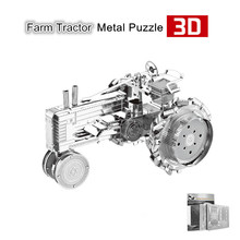 Nanyuan Farm Tractor 3D Metal Puzzle Jigsaws Silver 3D DIY Laser Cutting Car Model DIY Metal Fun Learning & Educational Toys