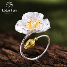 Adjustable Ring Poppies Fine-Jewelry Handmade Lotus Fun 925-Sterling-Silver Women Real
