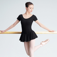 Professional Black Cotton Ballet Dance Dress Adult Girls Women Long/Short Sleeve Dance Gymnastics Leotard With Lining(China)